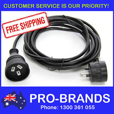 4-Metre Power Extension Lead 1mm Cord Cable Wire Piggy Back Black 4M Piggyback