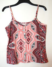 PINK NAVY GEOMETRIC LADIES CASUAL TOP BLOUSE CAMI SIZE 10 BLUE INC WOMAN