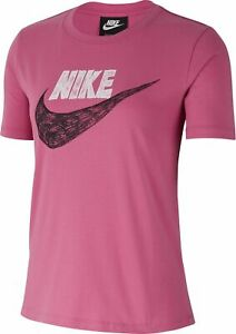 Nike Women Fitness Training short Sleeve T-Shirt W Icn Clsh Ss Top Pink