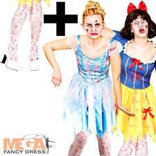 Zombie Fairytale Horror + Tights  Ladies Fancy Dress Halloween Adult Costume New