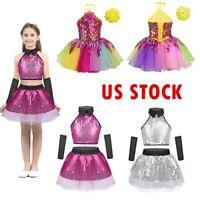US Stock Girls Lyrical Ballet Dance Tutu Dress Kids Gymnastics Dancewar Costumes
