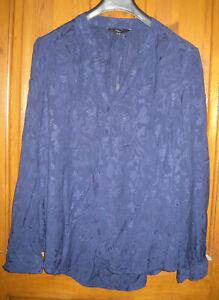 Navy Blue Next Long Sleeve No Collar Button Neck Skirt Size 16