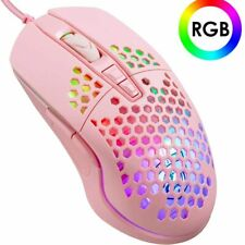 US Lightweight Gaming Mouse RGB Backlit 6400DPI  Ultralight Honeycomb Shell Mice