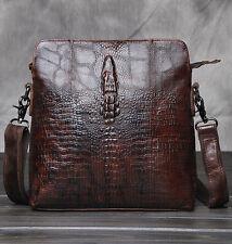 Men Genuine Leather Crocodile Style Messenger Shoulder Cross body Briefcase Bag