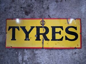 Vintage Rare Dunlop Tyres Enamel Sign Automobilia Petrol Shed Tyres Cycles Early