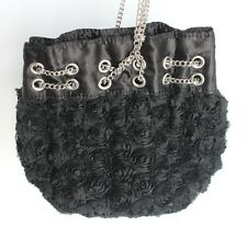 Betsey Johnson Rosette Lace Evening Shoulder Bag NEW No Tags Silver Hardware