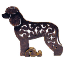Irish Water Spaniel dog figurine, dog statue made of wood (MDF), hand-paint