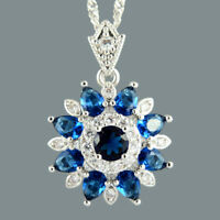 Round Blue Sapphire 18K White Gold Plated Flower Pendant Necklace Curb Chain