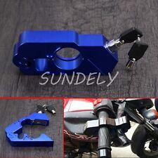 Motorcycle Handlebar Grip Brake Lever Lock Anit Theft Security Caps-Lock Blue