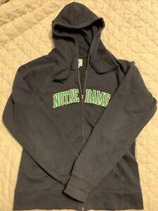 Full Zip Notre Dame Jacket Navy, Appliqué Letters, Pockets, Hood. Champion Med