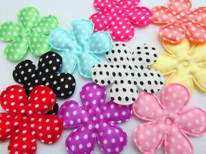 """50 Polka Dots Satin Basic Flower 1.5"""" Applique/Craft/Padded L58-Dot Select Color"""