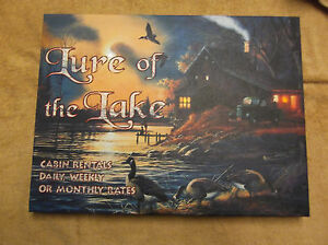 Lure of the Lake Lighted Canvas Wall Decor Sign Fishing Lights Up New