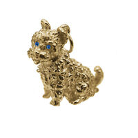 West Highland White Terrier 3D 24K Gold Plated Charm Jewelry westie Dog Sapphire