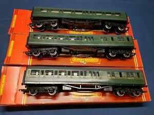 HORNBY RAKE OF 3 R441/5 SR MAUNSELL OLIVE GREEN  COACHES EXCELLENT BOXED