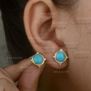 14K Solid Yellow Gold Natural Round Turquoise Gemstone Diamond Stud Earrings
