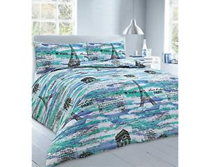 Paris Blue Duvet Cover Set With Pillowcases Super King Size