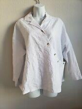 Susan Graver Women's short sleeve cream Curved button down blouse S Asymmetrical