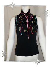 A - Haut Pull Sans Manches Noir Rubans Strass Perles  Etincelle Couture Taille 1