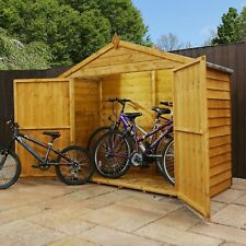 Wooden Bike Shed Apex roof overlap cladding.