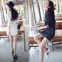 New Korean Women Lapel Striped Long Sleeve Summer Casual Blouse Tops Shirt Dress