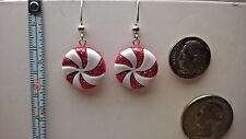 Peppermint Candy white with red Glittery Dangle Earrings