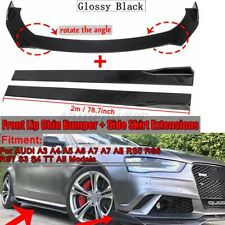 Front Bumper Lip Splitter +2m Side Skirts Body Kit For AUDI A3 A4 A5 A6 A7 A7 Q3