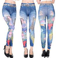 Leggings Jeans Look Leggins Treggings Jeggings Röhre Hose Stretch 34 36 38