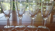 Vintage Rose Etched Wine Juice Cocktail Glasses Circa 1950's Morgantown 4 4oz