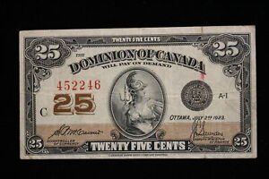 1923 Dominion of Canada. 25 Cents. Shinplaster. McCavour-Saunders. (#4)