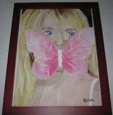 """Acrylic painting """"innocence"""" portrait art wall decor Blonde girl pink butterfly"""
