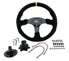350mm Jdm Universal Racing Suede Alloy Steering Wheel Amp Quick Release Hub Kit