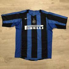 Inter Milan Mens Nike Blue/Black Pinstriped Short Sleeve Jersey Shirt Sz XL