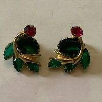 Vintage Large Pink and Green Rhinestone Clip On Earrings