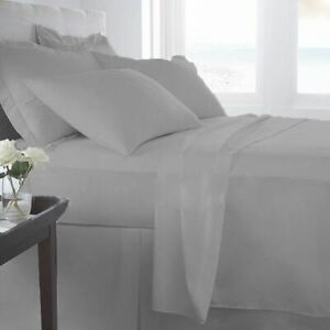 1000/1200 TC Egyptian Cotton Bedding Items US Sizes Silver Grey Solid/Stripe