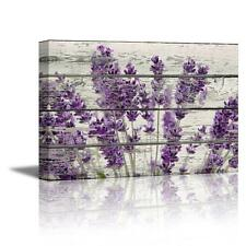 Lavender Flower Floral Canvas Wall Art Print Decor Rustic Wood 16 x 24 Gift New
