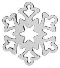 ONE STERLING SILVER 925 LIGHT SNOWFLAKE CHARM / PENDANT FOR CHRISTMAS, 14 MM