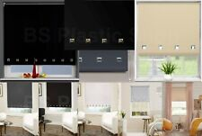 Square Eyelet Fabric Roller Blinds Easy Fit Trim able Home Office Window Blind
