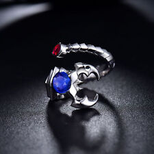 18ct White Gold Stunning Natural Unisex Scorpio Ring with Ruby and Sapphire VVS