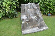 "Sheared Muskrat Musquash Mink PELTS Real FUR Blanket Throw 58""x42"" rug coat 3657"