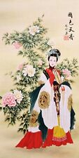 Beauty&Peony flower-ORIGINAL FINE ART CHINESE FAMOUS FIGURE WATERCOLOR PAINTING