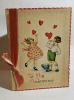 Vintage Valentine Greeting Card with Ribbon Children blowing Heart Bubbles