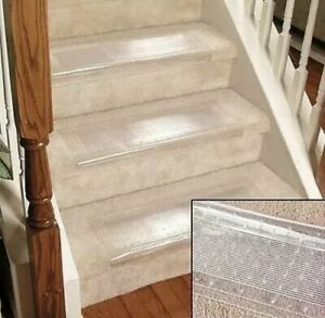 """Clear Stair Treads Carpet Protectors Set of 2 24"""" Wide 8"""" Deep New"""