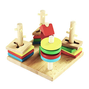 Montessori Wooden Stacking Toy and Shape Sorter, Brainteaser for Toddlers / Kids