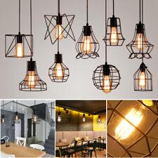Vintage Metal Diamond Hanging Pendant Ceiling Light Lamp Bulb Cage Decor Black