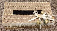 Handwoven Bathroom Kleenex Tissue Box Topper Cover - Gold