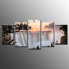 Wall Art Waterfall Sun Rise Canvas Prints Pictures For Home Decor-5pcs No Frame