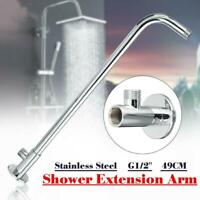 Wall Mount Shower Head Extension Pipe Long Stainless Arm Bathroom Steel U7V6