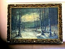 ANTIQUE 1935 RUSSIAN PAINTED PLAYWOOD PAINTING WINTER FOREST BY V.PANTELAIMONOV