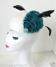 Turquoise Teal & Black Feather Fascinator Hair Clip Headpiece Vintage Silver N71