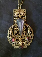 Antique ornate Czech. necklace, purple and pink
